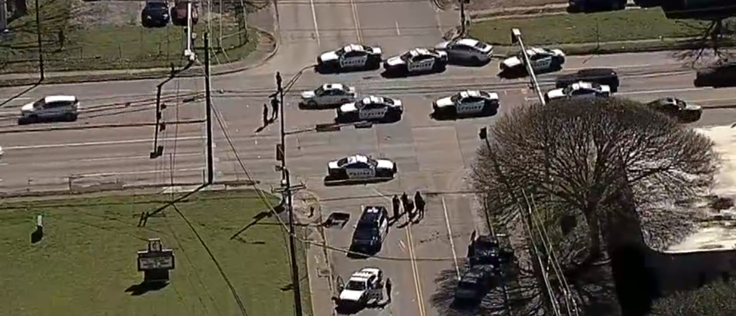 Dallas police chased a man in a carjacked vehicle to the intersection of Bruton Road and Pleasant Drive Wednesday.