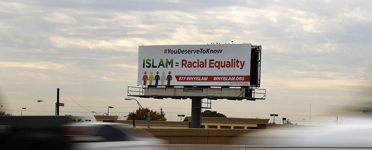 A 'Why Islam' billboard at the intersection of Interstate 635 and Josey Lane in Dallas advertises a hotline to educate people about Islam.