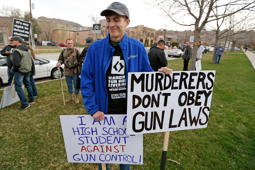 Levi Rodas, 16, from Orem High School, was among those demonstrating against stronger gun control measures Saturday in Salt Lake City.