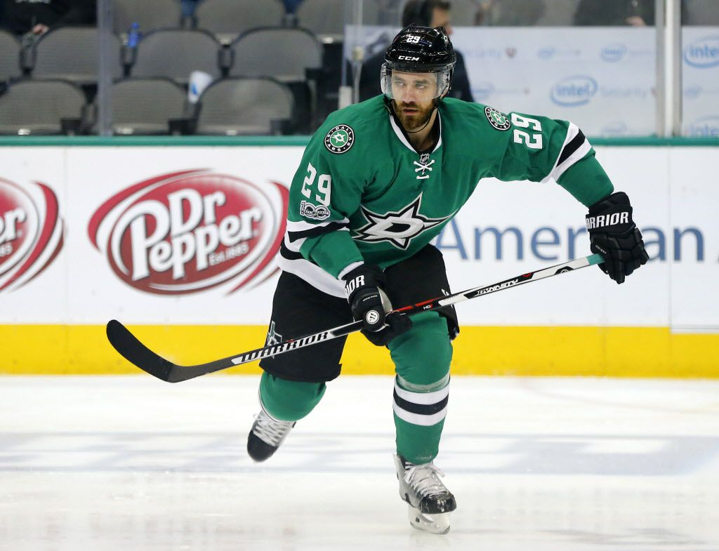 Dallas Stars defenseman Greg Pateryn (29) skates back to the bench during the second period against the New York Islanders at the American Airlines Center in Dallas, Thursday, March 2, 2017.