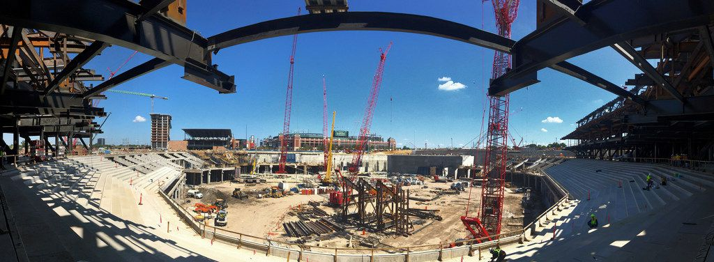 A panoramic view of the new Globe Life Field under construction in Arlington, Texas, Tuesday, September 18, 2018. This is seen from the main concourse behind home plate. The Texas Rangers and Manhattan Construction celebrated the One Million Man Hours by providing a barbecue lunch for its nearly 900 construction workers. Rangers baseball players joined manager Jeff Banister in handing out construction helmet stickers to mark the occasion. They also signed autographs and posed for photos.
