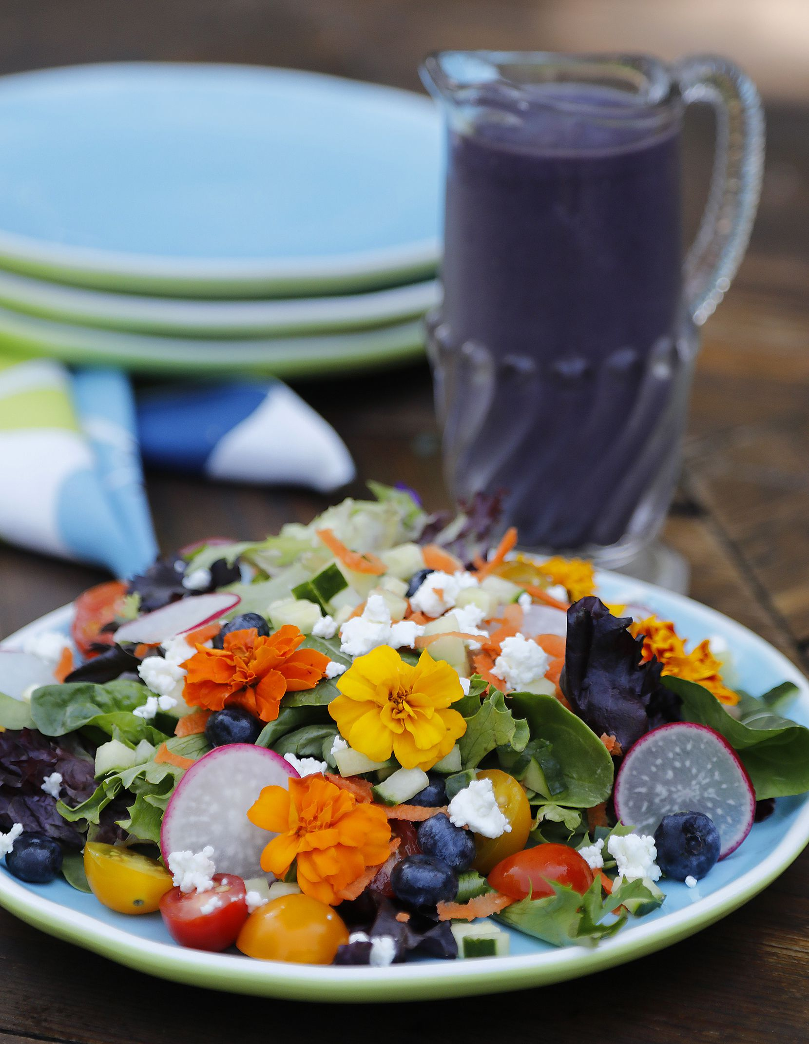 A Floral Blueberry Salad with Butterfly Pea Flower Vinaigrette