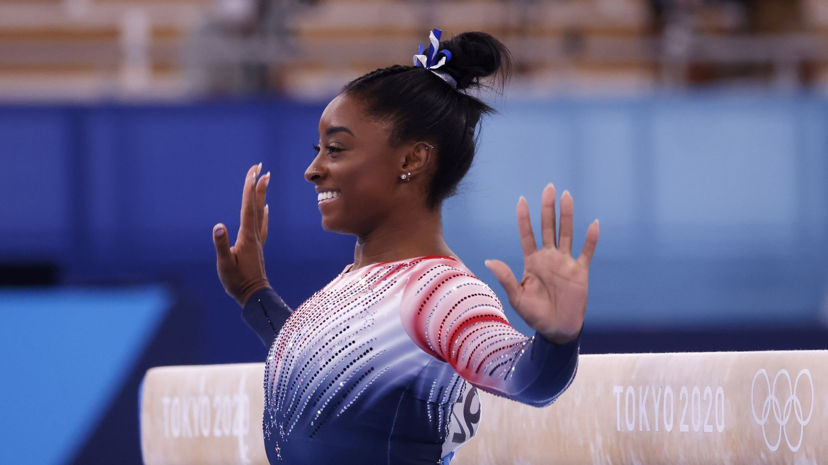 USA's Simone Biles competes in the women's balance beam final at the postponed 2020 Tokyo Olympics at Ariake Gymnastics Centre, on Tuesday, August 3, 2021, in Tokyo, Japan. Biles placed third in the event, earning a bronze medal.