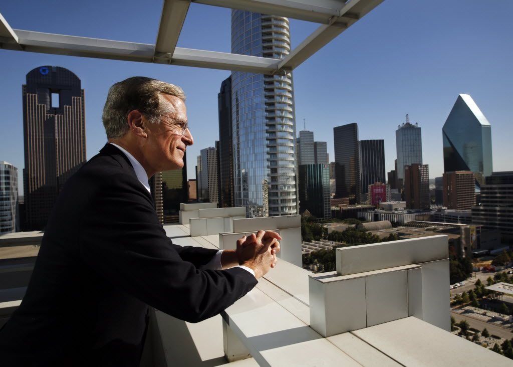 Federal Reserve Bank of Dallas president Robert Kaplan looks at the Dallas skyline outside his office. (Tom Fox/The Dallas Morning News)