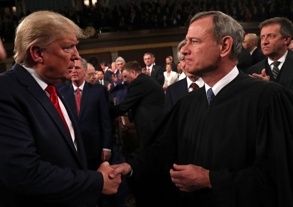 President Donald Trump greeted Chief Justice John Roberts Tuesday night before the State of the Union address.