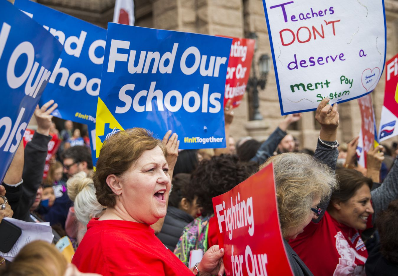Rena Honea, president of the Dallas Alliance of American Federation of Teachers union, chants during the Texas Public Education Rally on Monday, March 11, 2019 at the Texas capitol in Austin. Teachers pushed for school finance reform and pay raises.