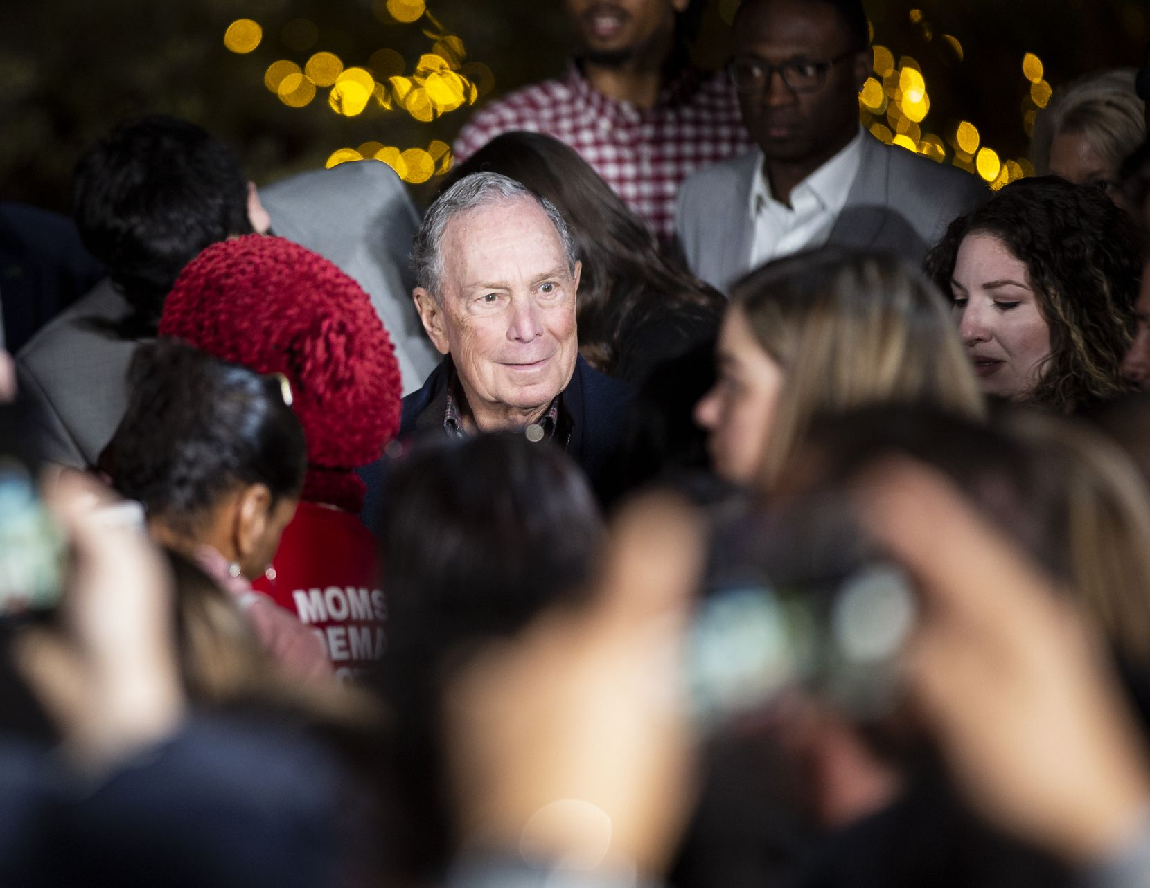 Presidential candidate and former New York Mayor Mike Bloomberg made a campaign stop at the Happiest Hour in Dallas on Jan. 11. (Juan Figueroa/The Dallas Morning News)