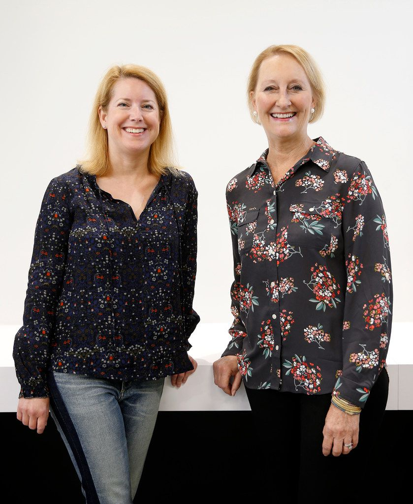 Golden Seeds Managing Directors Laura Baldwin (left) and Louise Kee pose for a photograph on the University of Texas at Dallas campus in Richardson. They hold office hours for entrepreneurs at UTD. (Jae S. Lee/The Dallas Morning News)