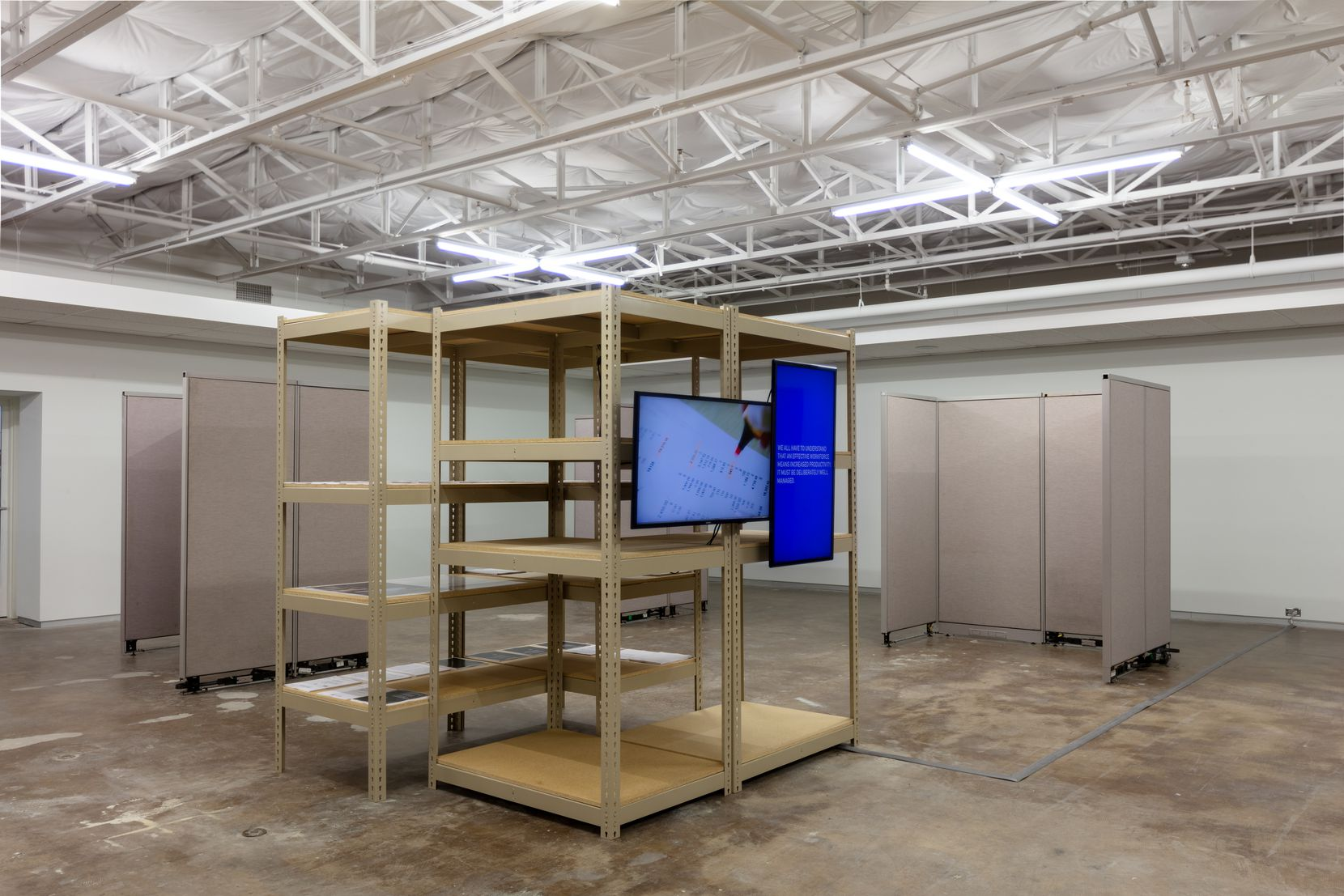 Jessica Vaughn mined 55 workplace panels directly from the Department of Education in Austin for her new exhibition.