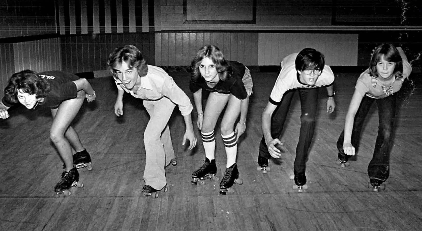 Sept. 26, 1977: From left, Glenda Green, Mike Ewton, Julie Evans, Joe Robinson and Niecie Byrum were poised for skating.