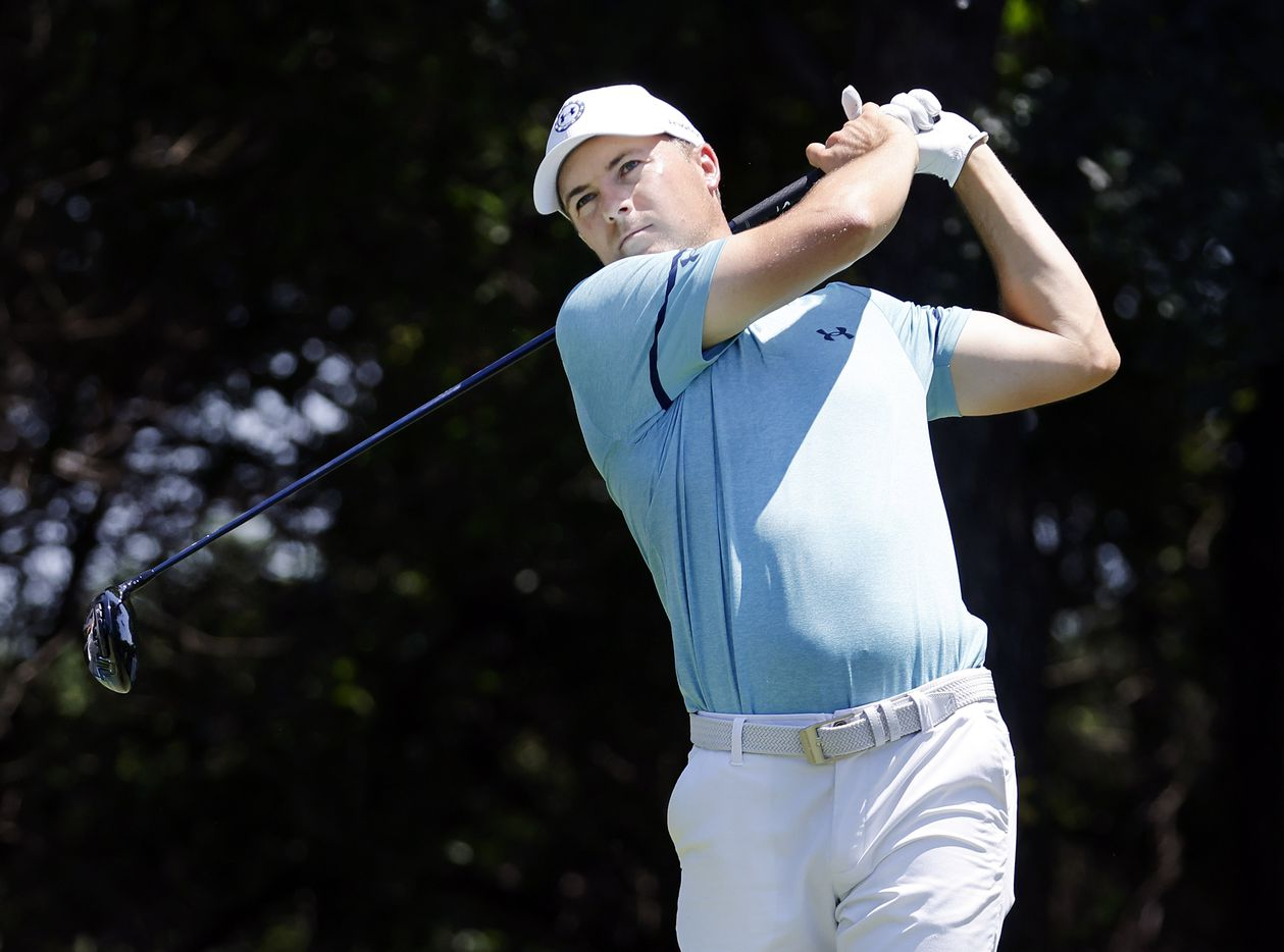 Golfer Jordan Spieth tees off on No. 12 during his Charles Schwab Challenge Colonial Pro-Am round at the Colonial Country Club in Fort Worth, Wednesday, May 26, 2021. (Tom Fox/The Dallas Morning News)