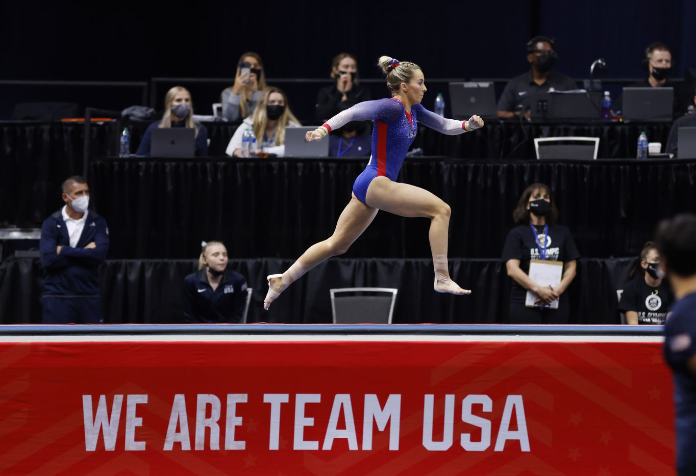 MyKayla Skinner competes on the vault during day 2 of the women's 2021 U.S. Olympic Trials at The Dome at America's Center on Saturday, June 27, 2021 in St Louis, Missouri.(Vernon Bryant/The Dallas Morning News)