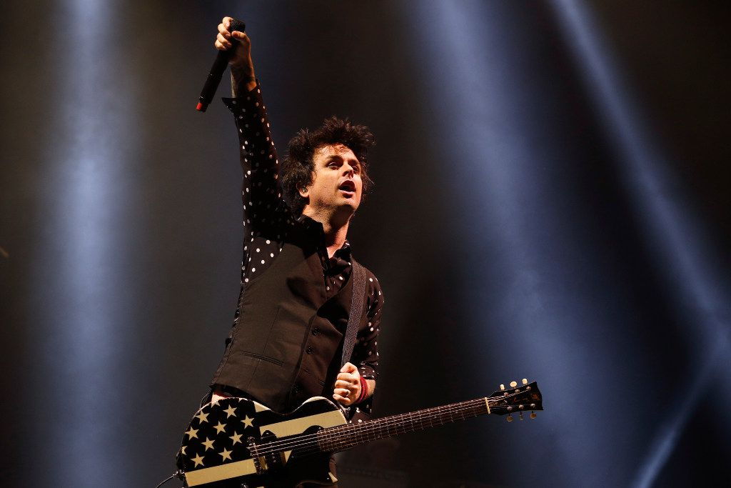 Billie Joe Armstrong of Green Day in concert at the American Airlines Center in Dallas on March 4, 2017.