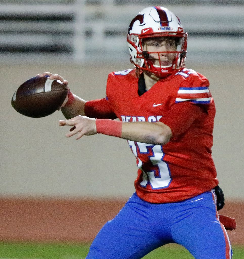 J.J. Pearce High School quarterback Blake Waters (13) during the first half as J.J. Pearce High School hosted Skyline High School at Eagle/Mustang Stadium in Richardson on Friday night, November 8, 2019. (Stewart F. House/Special Contributor)