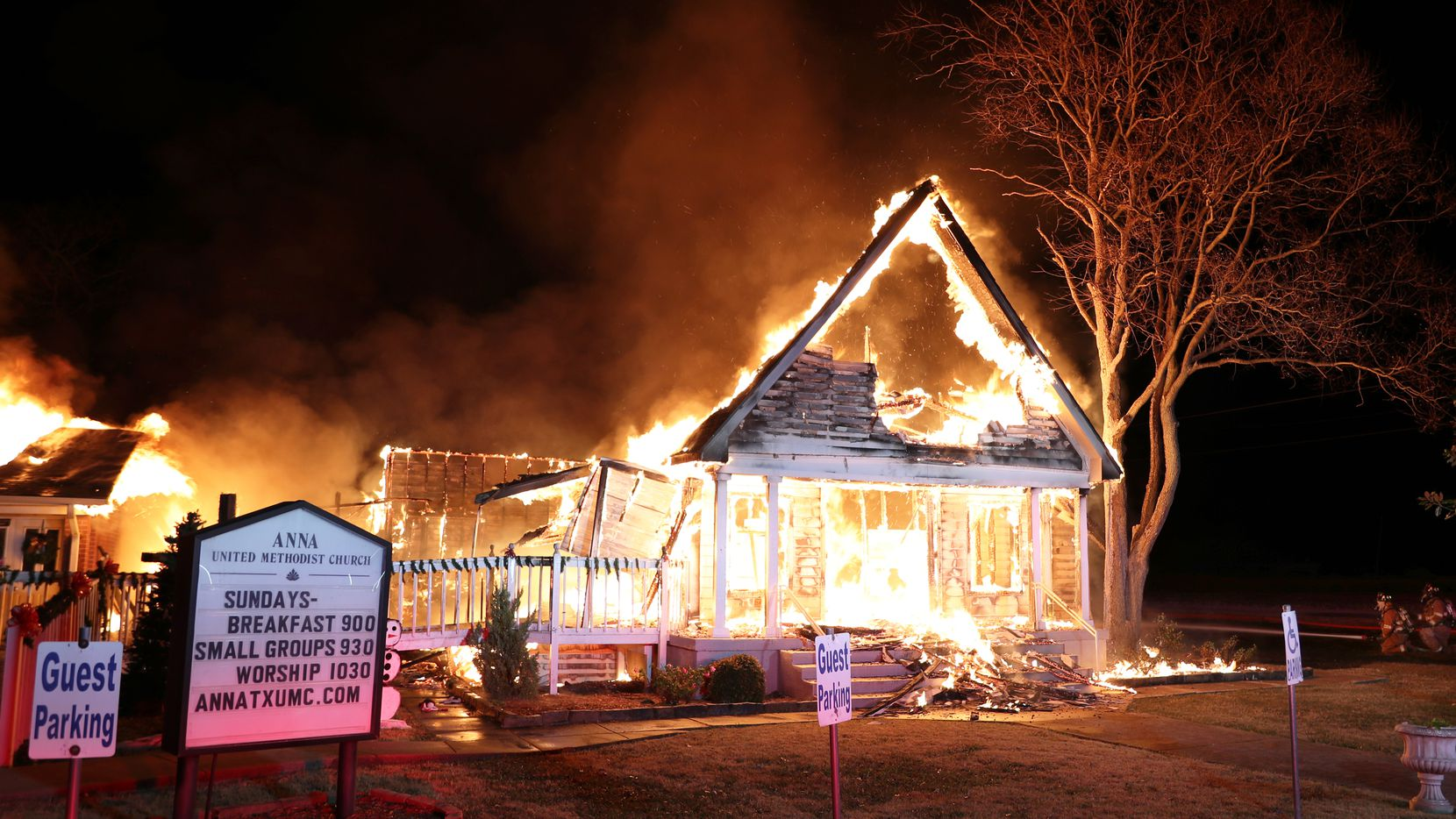 Crews from the Blue Ridge, McKinney, Melissa, Westminster and Weston fire departments helped Anna firefighters put out the blaze at Anna United Methodist Church on Thursday.