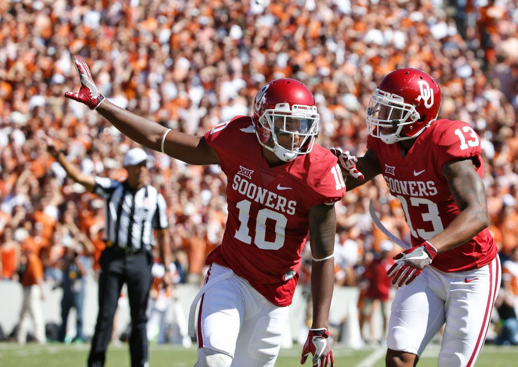 Oklahoma Sooners safety Steven Parker (10) celebrates a recovered fumble against Texas Longhorns in the first half of the Red River Showdown at the Cotton Bowl in Dallas, TX Oct. 8, 2016.   (Nathan Hunsinger/The Dallas Morning News)