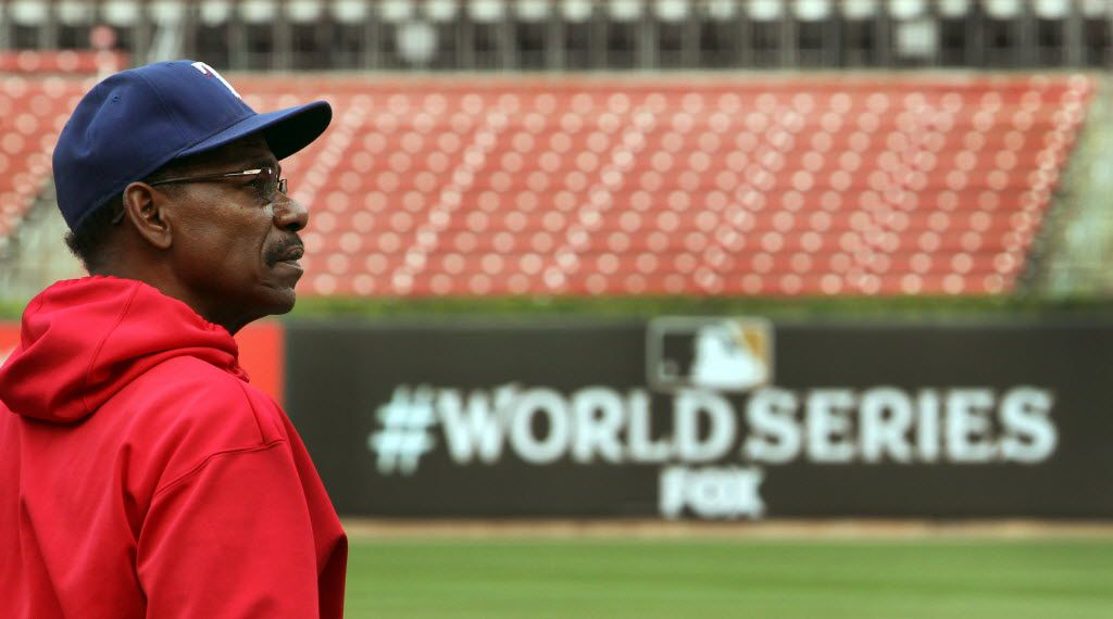 Texas manager Ron Washington gazes around the park as he pauses during batting practice before Game 6 of the World Series against the St. Louis Cardinals at Busch Stadium in St. Louis on Thursday, Oct. 27, 2011. (Louis DeLuca/The Dallas Morning News)