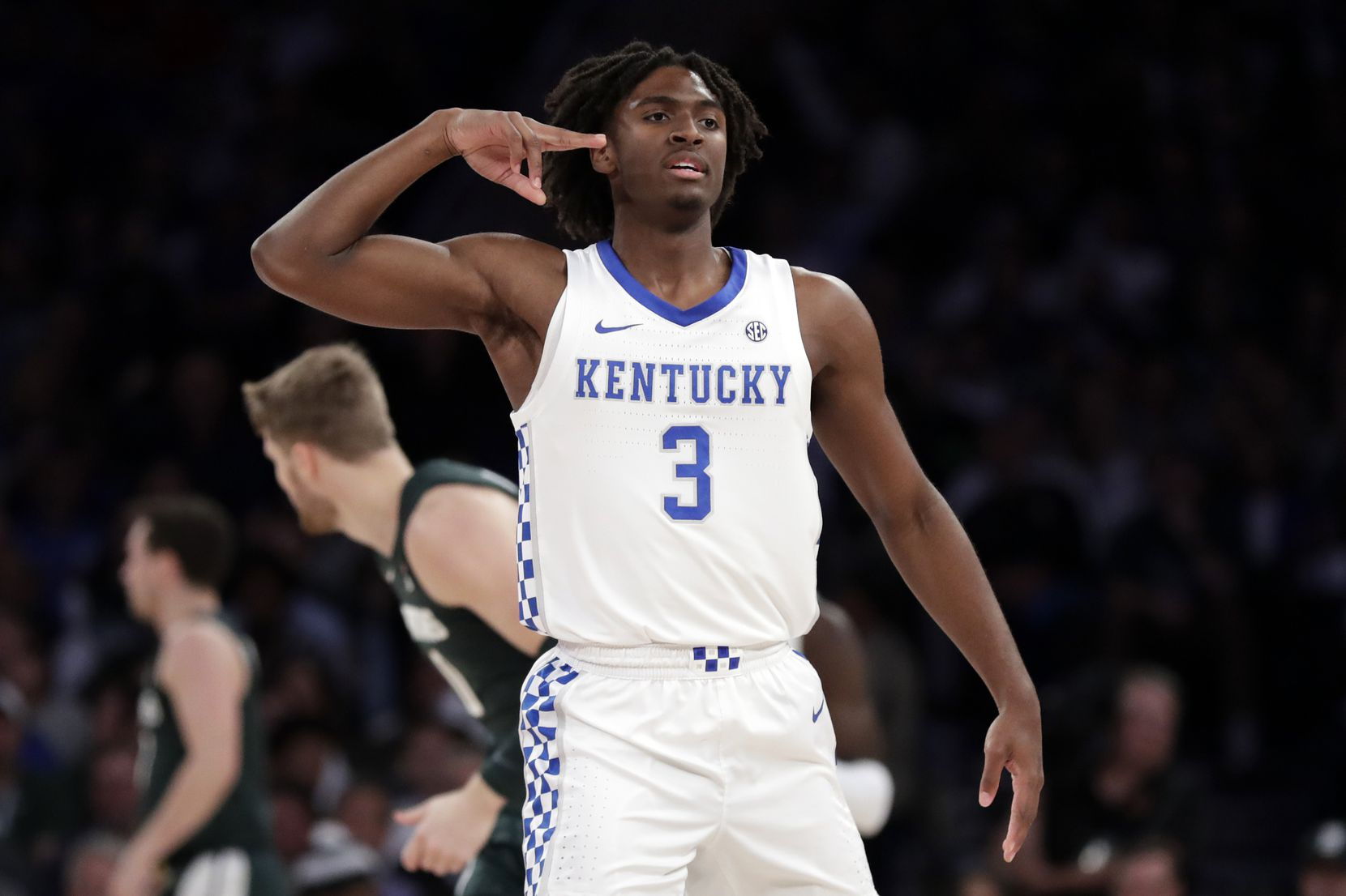 Kentucky guard Tyrese Maxey (3) reacts after making a 3-pointer during the first half of a game against Michigan State on Tuesday, Nov. 5, 2019, in New York.