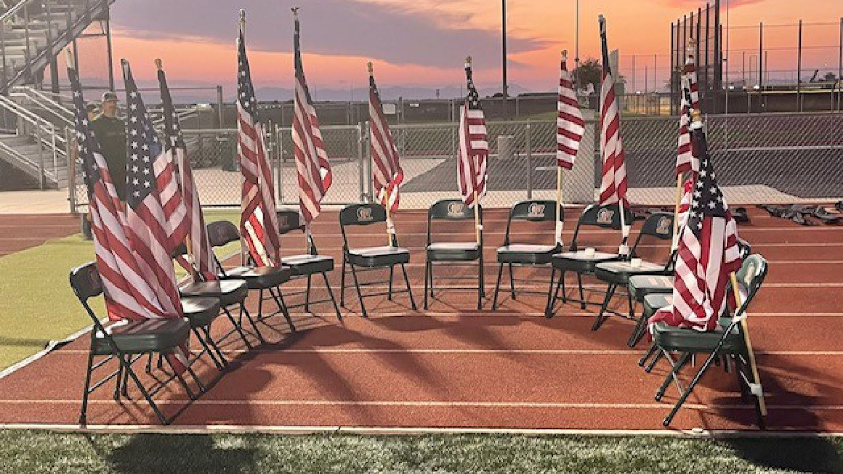 Campo Verde High School varsity football team carried 13 American flags to the field to honor the 13 service members killed Aug. 26 in Afghanistan. Kathleen Diggs, counselor and community service coordinator at Campo Verde, said the flags were then set up near the field with 13 empty chairs.