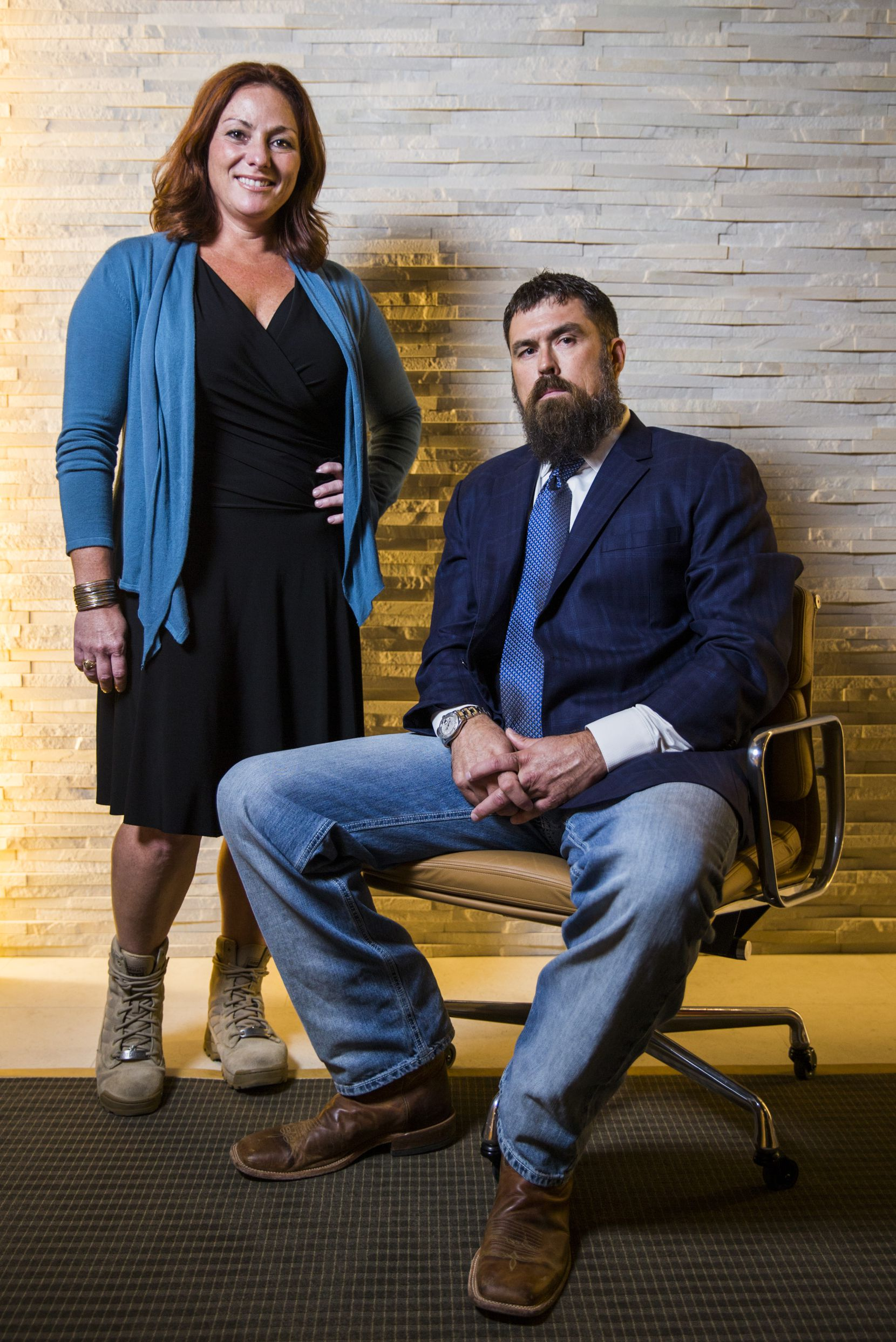 Robyn Payne is CEO of Boot Campaign, and Morgan Luttrell is a former Navy SEAL. Luttrell is a research scientist and is pursuing an advanced degree in cognitive neuroscience at UTD. He is the twin brother of Marcus Luttrell, a former Navy SEAL who created the Lone Survivor Foundation.