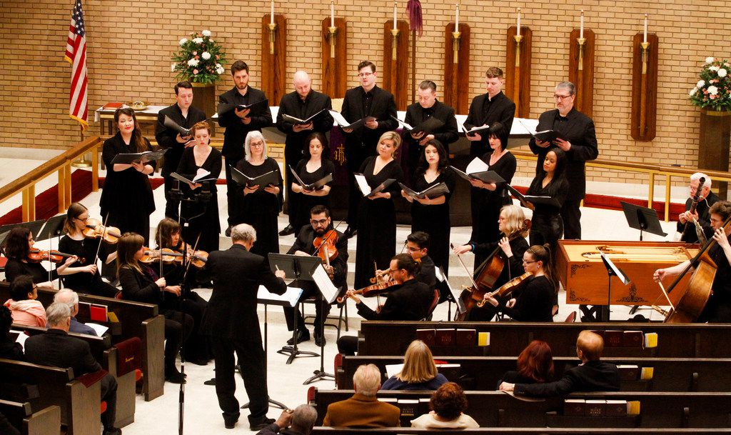 Orchestra of New Spain, with chorus, perform a concert featuring sacred music by Mozart and Francisco Courcelle conducted by director Grover Wilkins at Zion Lutheran Church in Dallas on March 30, 2019.