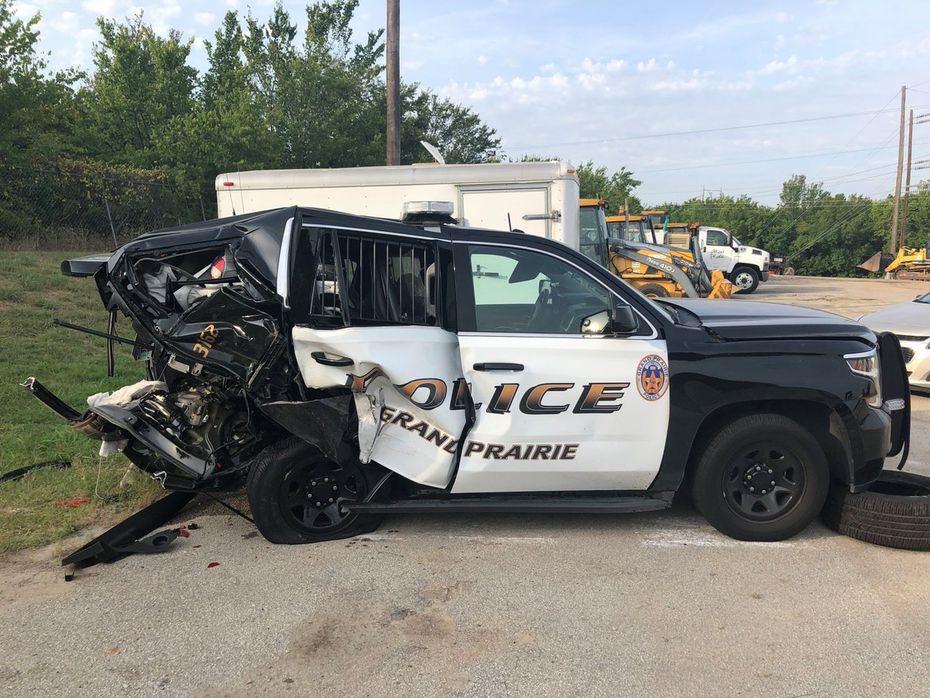 A driver slammed into the rear of a Grand Prairie Police Department SUV on July 22.