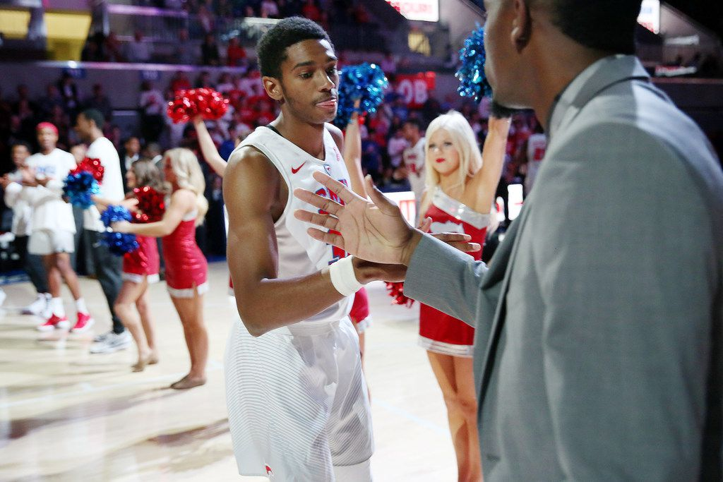 Southern Methodist Mustangs guard Jimmy Whitt (31) is introduce before the first half during an NCAA basketball game between the Northwestern State and SMU at Moody Coliseum on the campus of Southern Methodist University in Dallas Wednesday November 15, 2017. SMU led Northwestern State 36-8 at halftime. (Andy Jacobsohn/The Dallas Morning News)