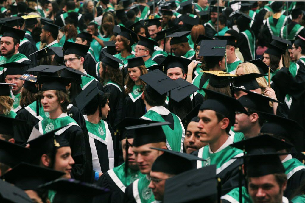 Hundreds of University of North Texas graduates gathered in the green room getting prepared to walk at UNT's spring 2014 commencement.