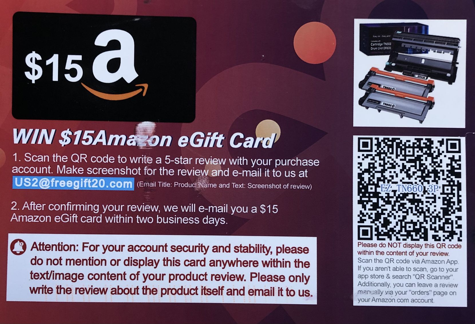 """Postcards asking for positive Amazon product reviews are not permitted. One Watchdog reader calls this a """"bribery card."""""""
