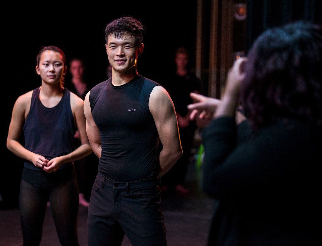 Southern Methodist University dance students Adele Carlson, left, and Daniel Lim listen to choreographer Bridget Moore during a rehearsal of Simply, Eartha.
