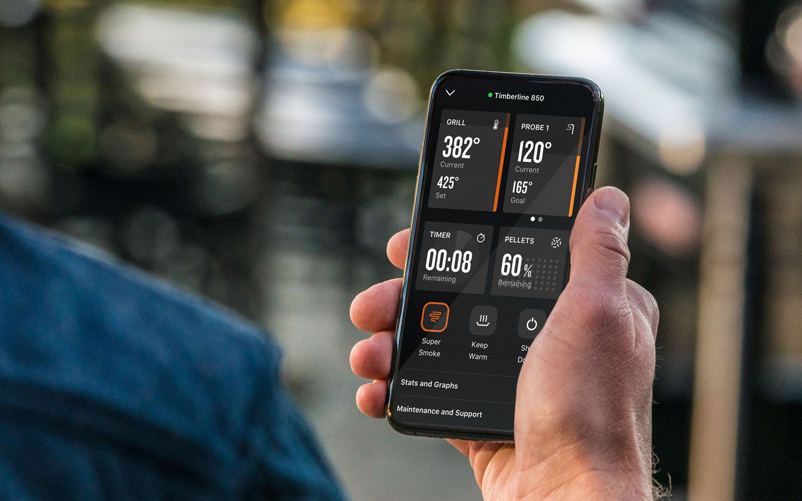 The Traeger app lets the user see and control the grill from anywhere.