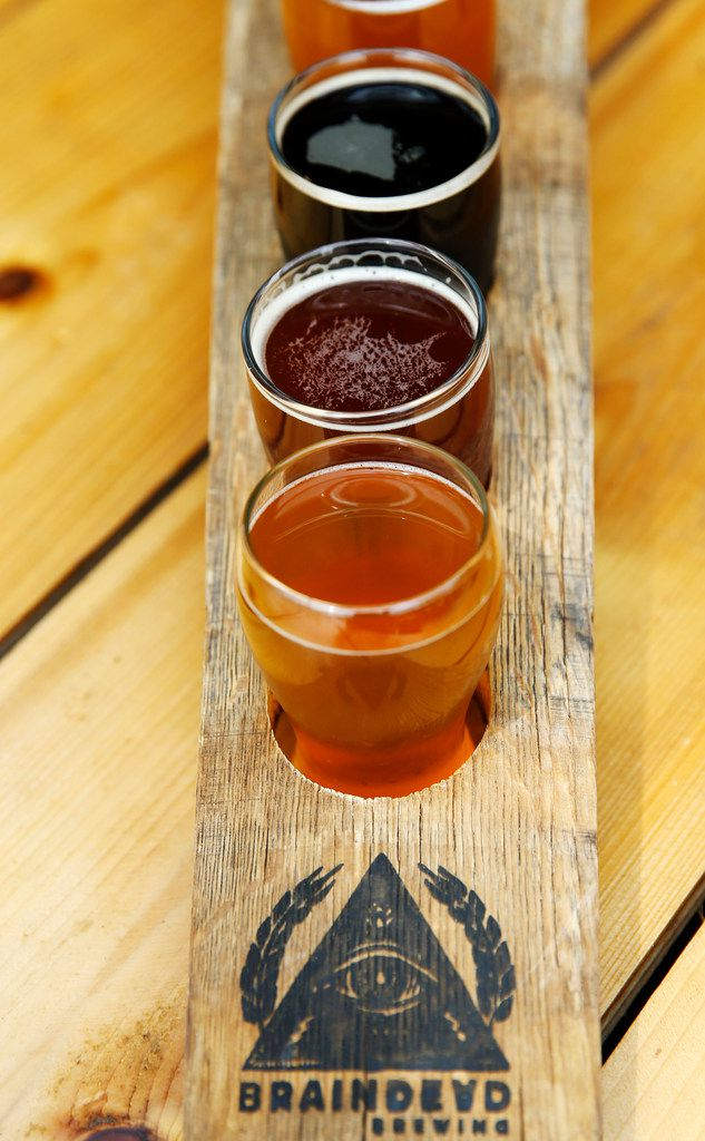 """Two or more people can order the """"Big Ass Beer Flight"""" at BrainDead Brewing in Dallas."""