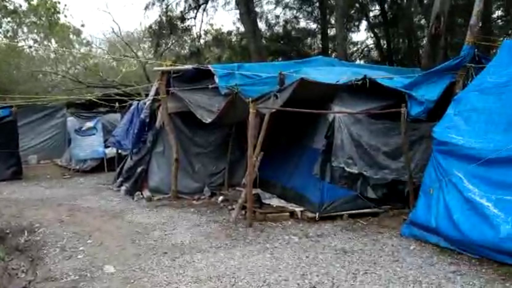 Scenes from the Matamoros camp of asylum-seekers shows rough conditions for those inside tents covered with tarps on Monday, Feb 15, 2021. Photos taken by asylum-seeker Rolando, who wanted his surname kept private.