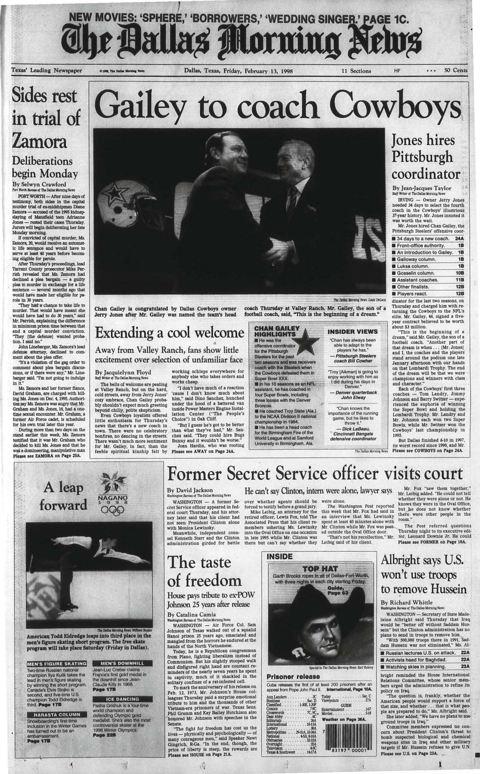 Front page of Feb. 13, 1998, when Chan Gailey was announced as the new head coach of the Dallas Cowboys.