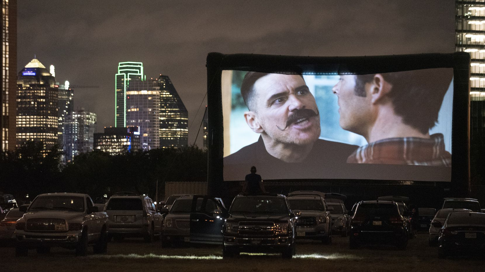 Sonic the Hedgehog plays at Rooftop Cinema Club drive-in off Central Expressway in Dallas in August. A new drive-in series is launching in Irving this Friday.