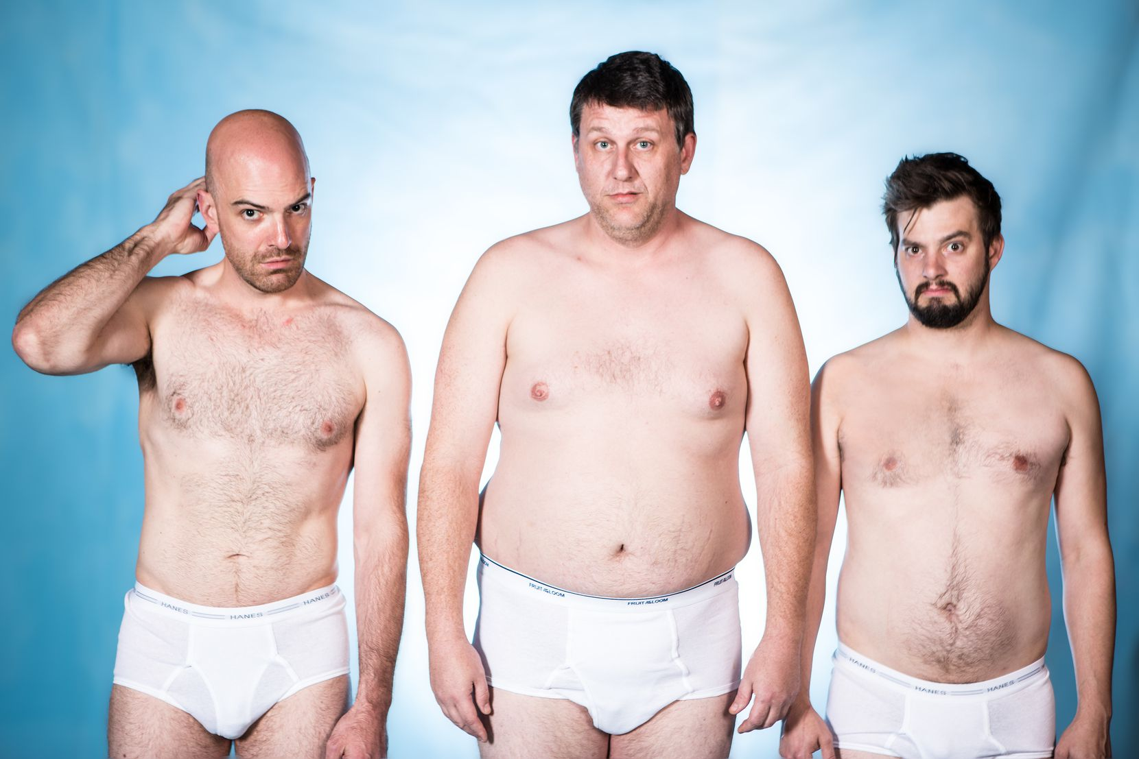 """Thomas Ward (center) in """"Straight White Men"""" at Second Thought Theatre. During the production, the actor-playwright and assistant director Jake Nice started talking about mounting Ward's """"Slide By."""""""