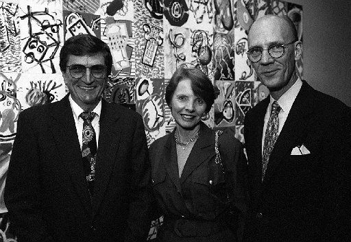 From left: Frank Ribelin, Evelyn Stoffel and William Jordan in 1995 at the Meadows Museum