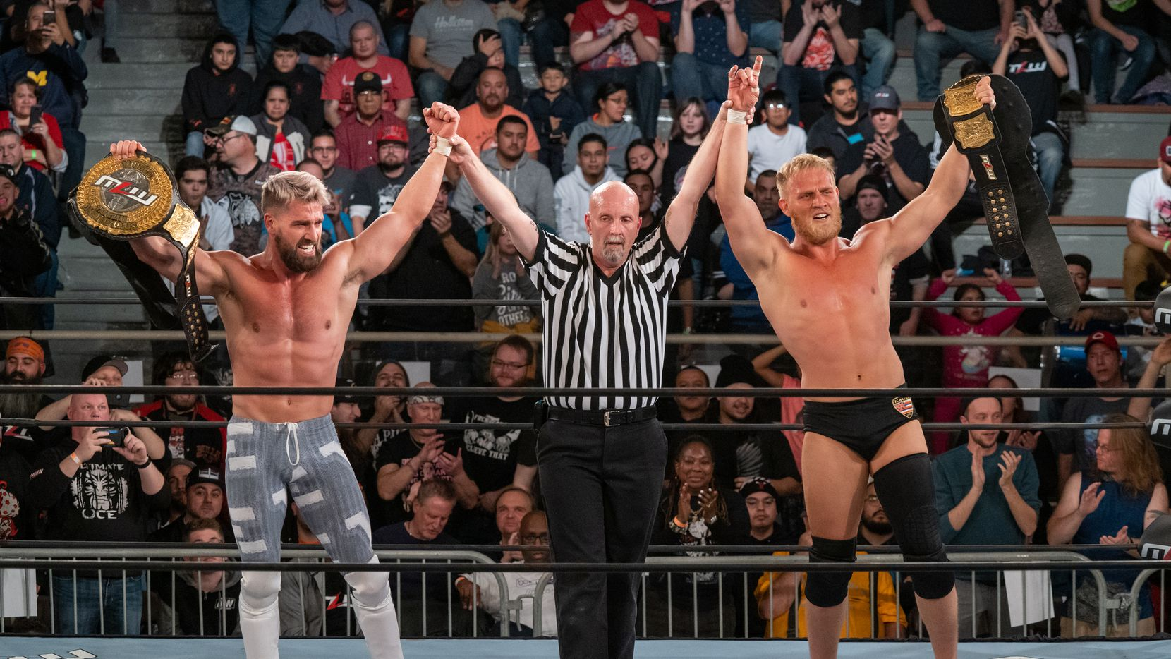 Ross and Marshall Von Erich get their hands raised after winning the MLW World Tag Team Championship in Chicago, November 2, 2019. Courtesy: MLW