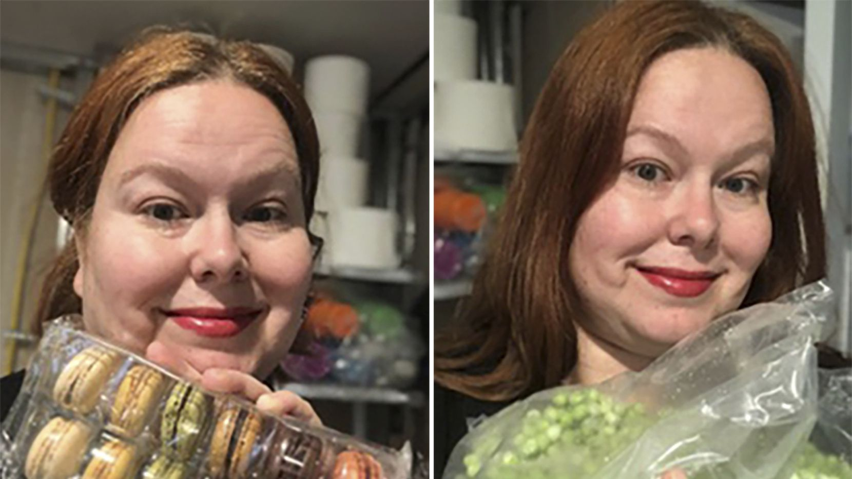 This combination photo shows Jennifer Salgado, 42, of Bloomfield, N.J., with a pack of macarons, left, and a bag of peas she ordered during coronavirus lockdown. Millions of people have helped online retail sales surge as consumer spending fell off rapidly when businesses shut down. Salgado snapped up 96 macarons from a bulk-buying store, along with 24 pounds of frozen peas.