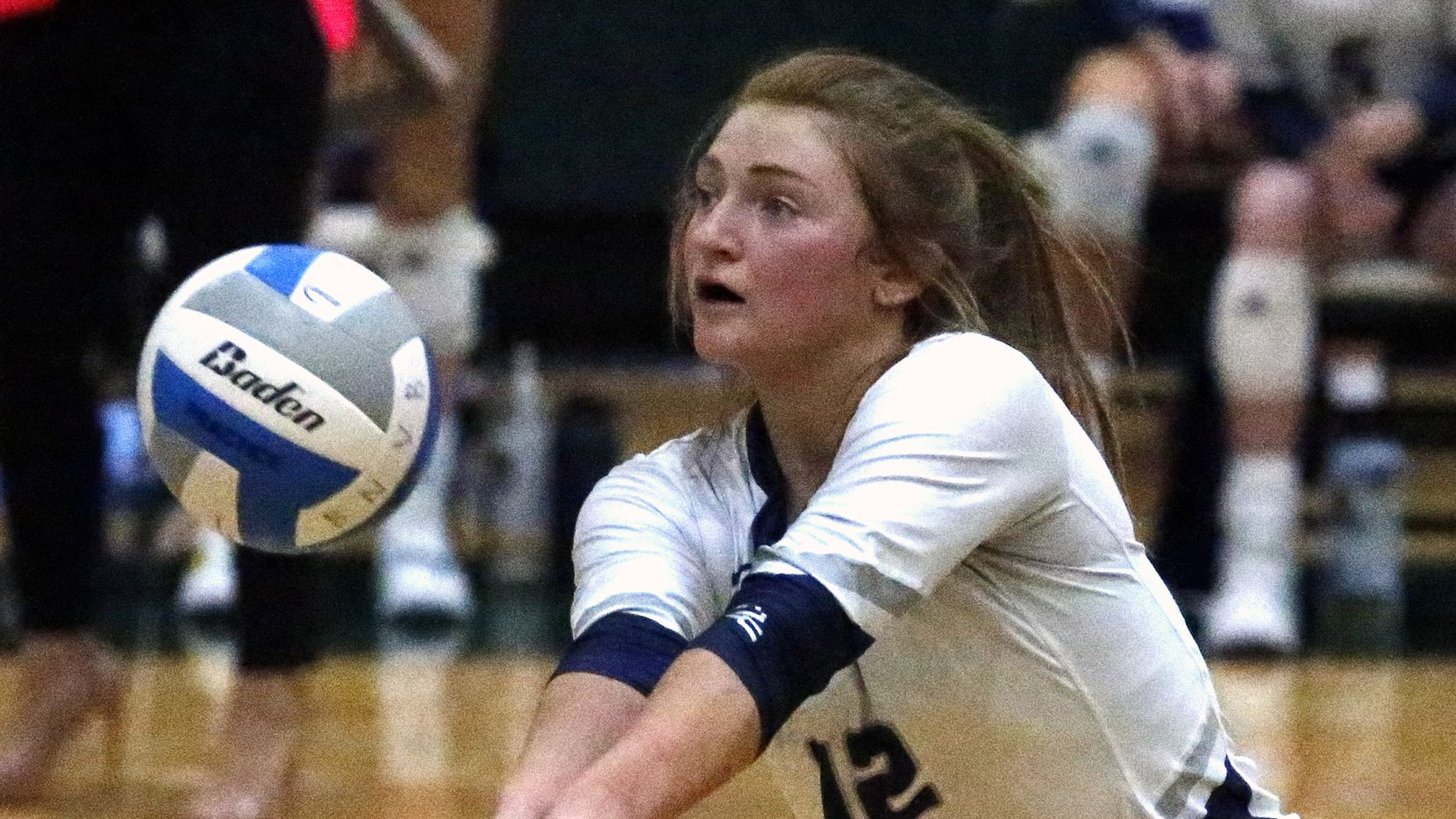 Flower Mound outside hitter Angelique Cyr (12) makes a pass during game two of Class 6A Region I semifinal match against Byron Nelson at Prosper High School in Prosper on Tuesday, Dec. 1, 2020.