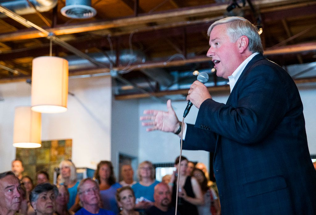 Democratic candidate for lieutenant governor Mike Collier speaks during a town hall meeting hosted by the Funky East Dallas Democrats at 2018 Kidwell Street on July 2, 2018.