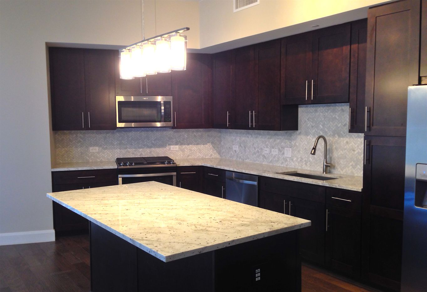 The kitchen in The Katy apartments on Cole Avenue.