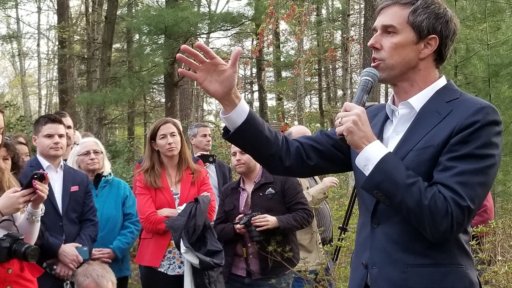 Beto O'Rourke stumped in Salem, N.H., on Thursday as his wife, Amy (in red jacket) looks on.