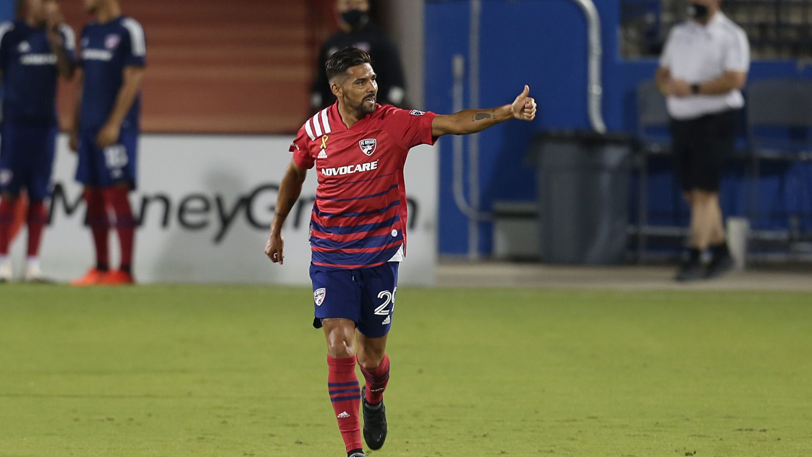 FRISCO, TX - SEPTEMBER 16: Franco Jara #29 of FC Dallas celebrates after scores 2nd goal for his team during the MLS game between FC Dallas and Colorado Rapids at Toyota Stadium. Santiago Mosquera hat trick lifts FC Dallas over the Colorado Rapids 4-1.