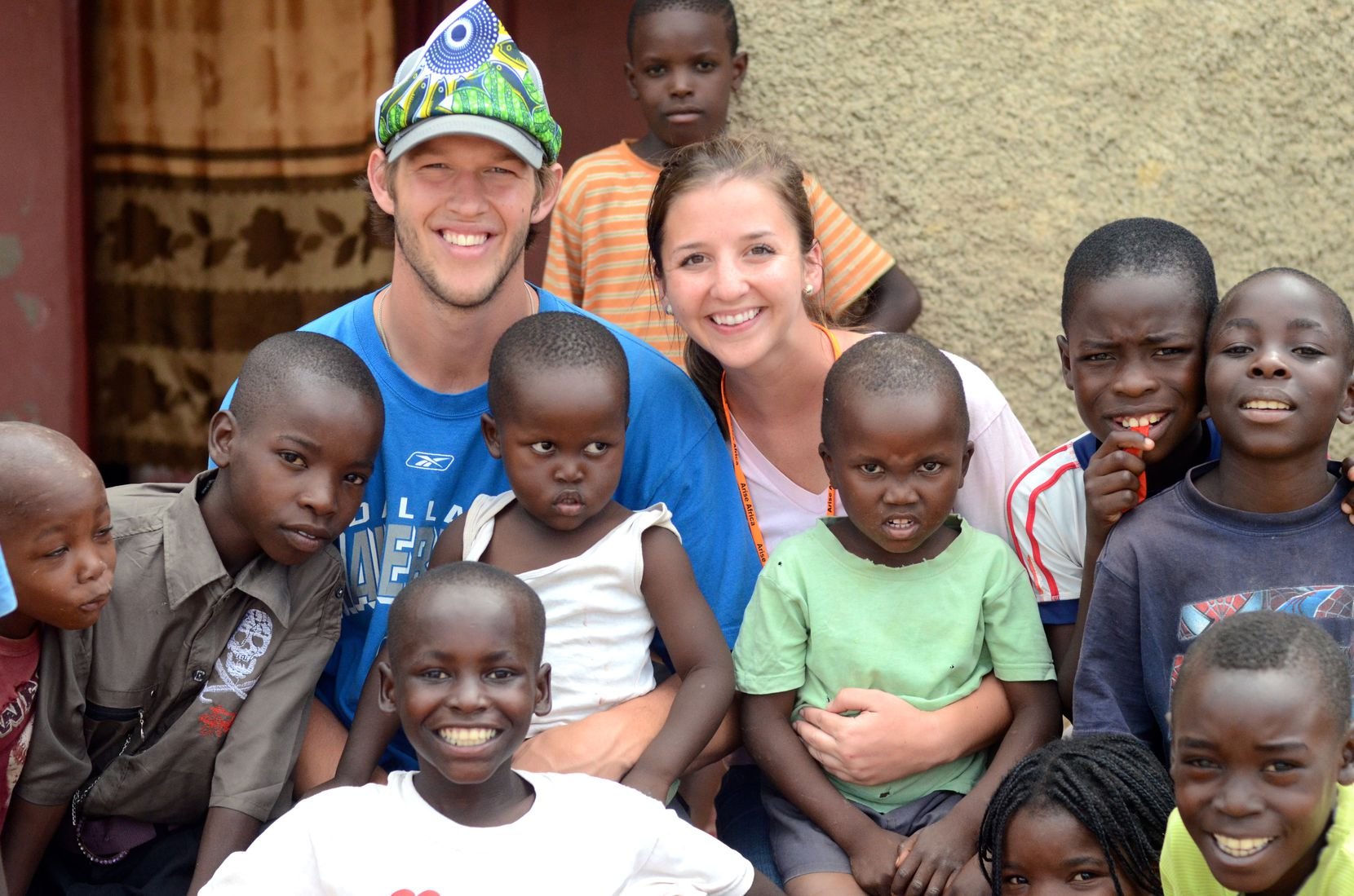 Clayton and Ellen Kershaw visit with children on their second visit to Lusaka, Zambia, in 2012.