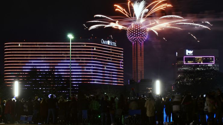 Fireworks from Reunion Tower ring in the new year during the New Year's Eve Party on the Plaza outside of City Hall in Dallas, Jan. 01, 2020. The NYE celebration, presented by Visit Dallas, hosted a watch party for this year's fireworks from Reunion Tower, food trucks and live music to ring in the new year. Ben Torres/Special Contributor