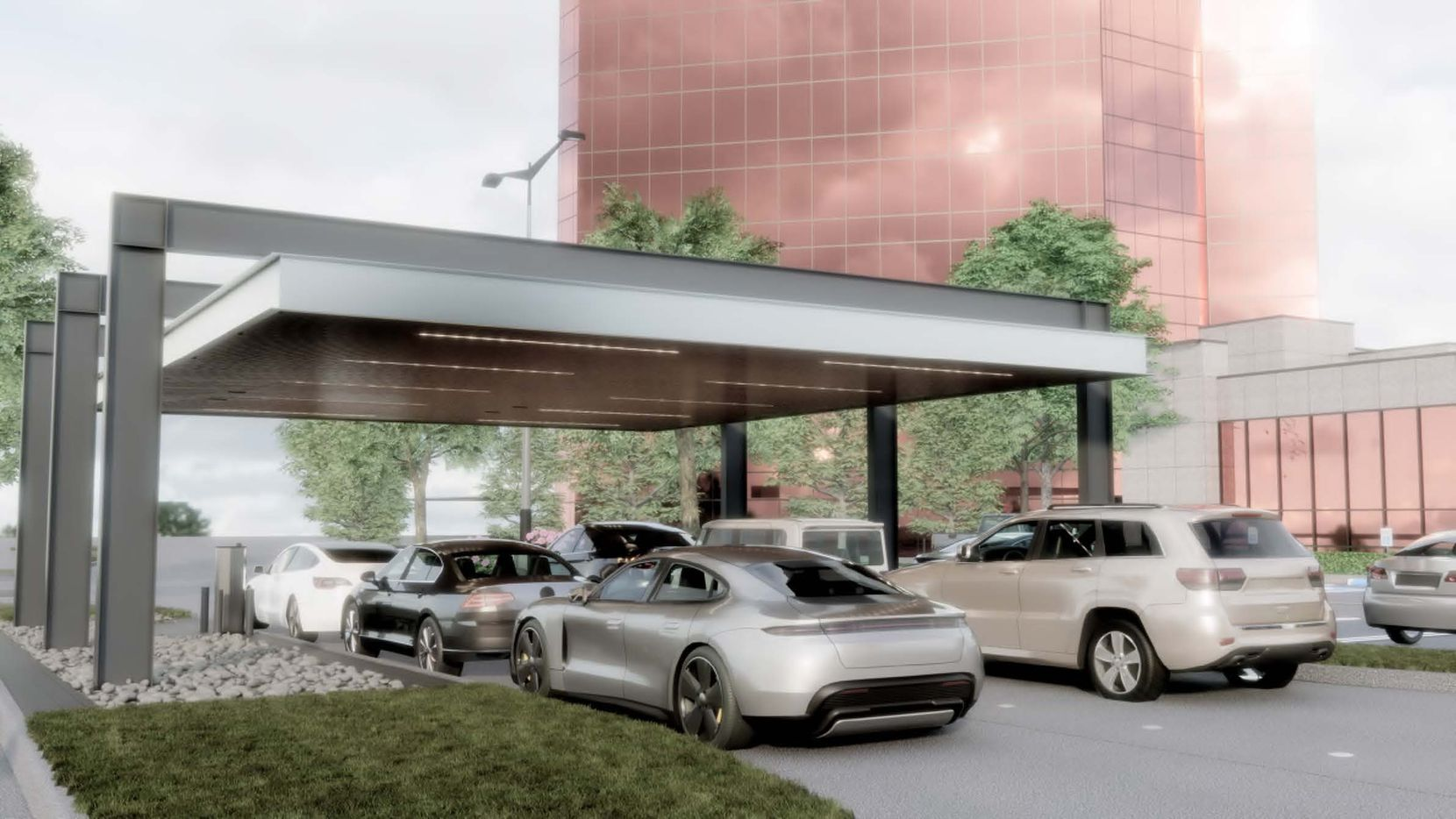 A render shows the new drive-in banking facilities, which will be relocated to the northern part of the property for easier access.