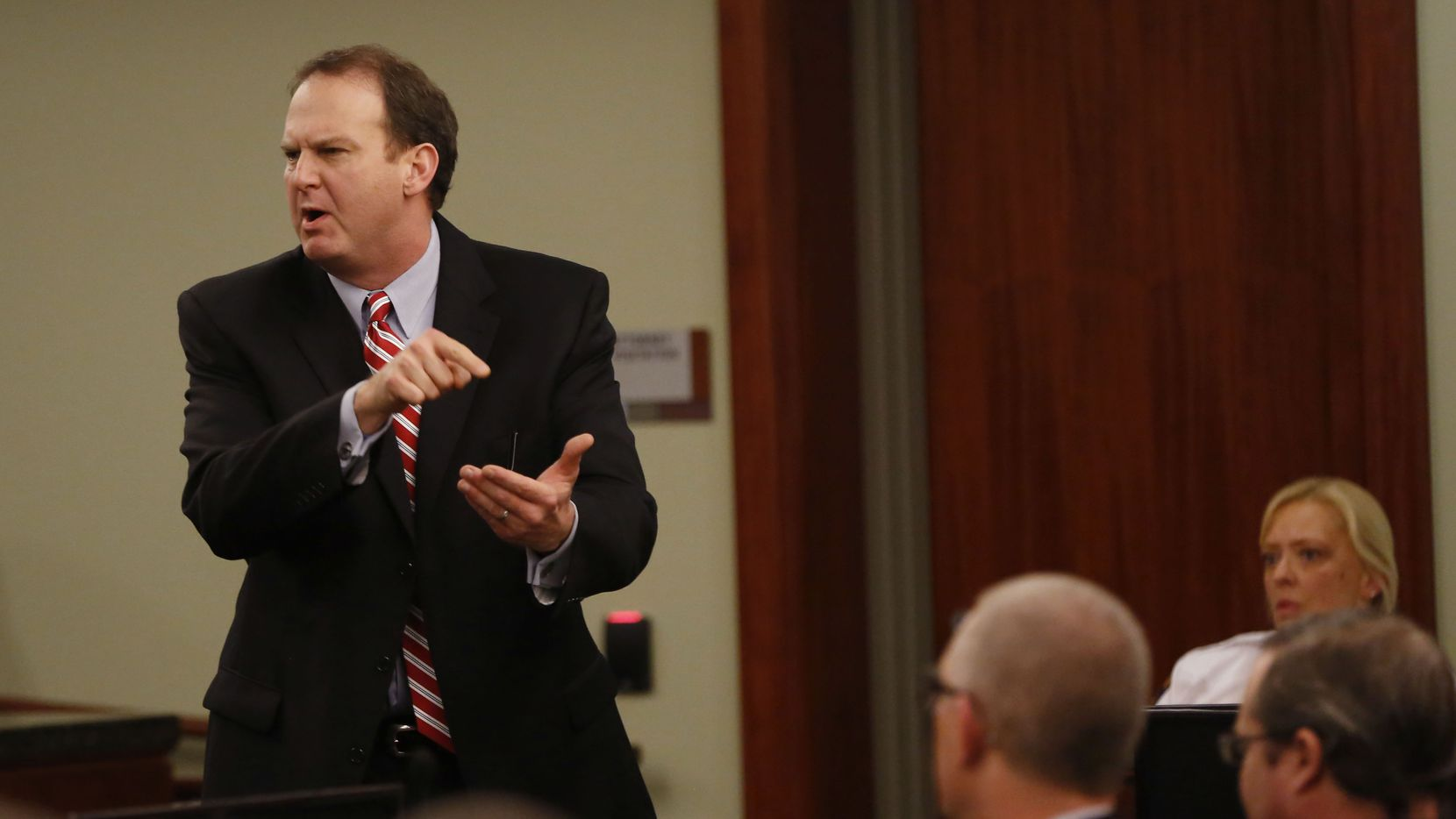 Special prosecutor Bill Wirskye points at Eric Williams as he gives closing arguments during the punishment phase of the Eric Williams capital murder trial at the Rockwall County Courthouse in Rockwall, on Tuesday, December 16, 2014. Williams is accused in the Kaufman DA murder of Mike McLelland and his wife Cynthia McLelland in 2013. (Vernon Bryant/The Dallas Morning News)