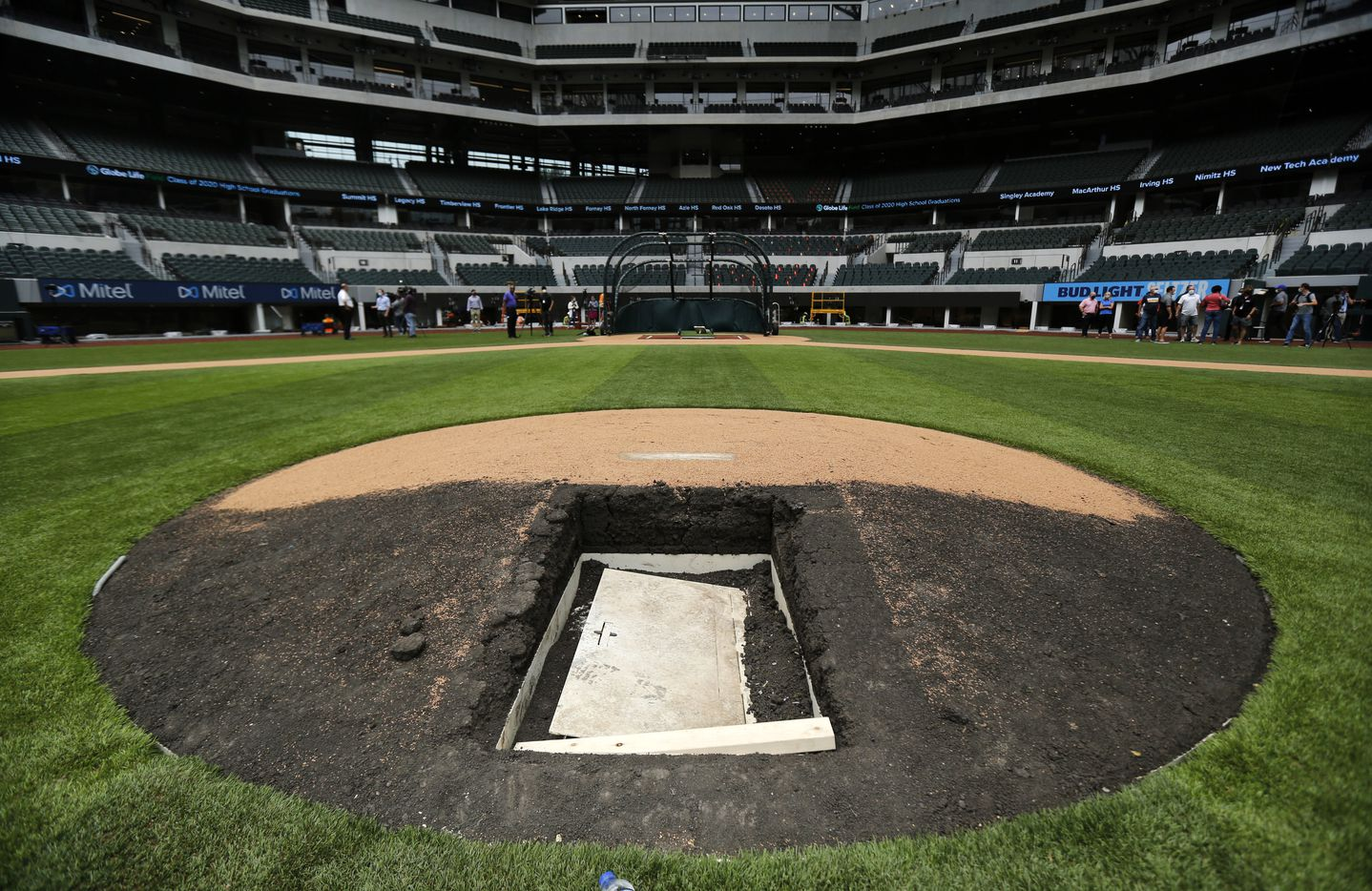 The Texas Rangers installed a retractable pitching mound at the new completed Globe Life Field in Arlington, Wednesday, May 20 2020. A door at the back of the mound leads to a 3-4 foot crawl space for the dirt hill to be lowered for non-baseball events. (Tom Fox/The Dallas Morning News)