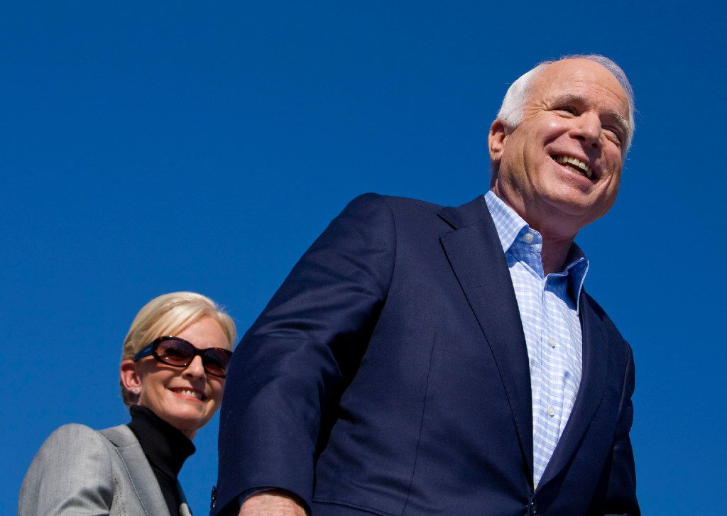 Sen. John McCain campaigns with his wife Cindy McCain during the 2008 election in Springfield, Va., Nov. 1, 2008.